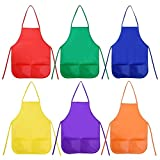 12 Pieces Children's Apron Painting Aprons with Pockets for Kids Painting and Baking, 6 Colors
