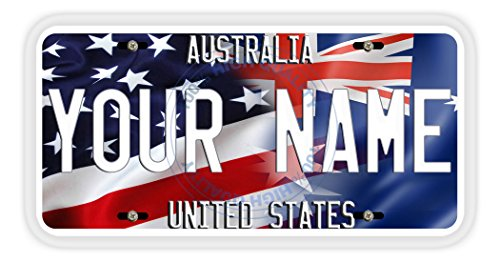 (BleuReign(TM) Personalized Mixed USA and Australia Flag Car Vehicle License Plate Auto Tag)