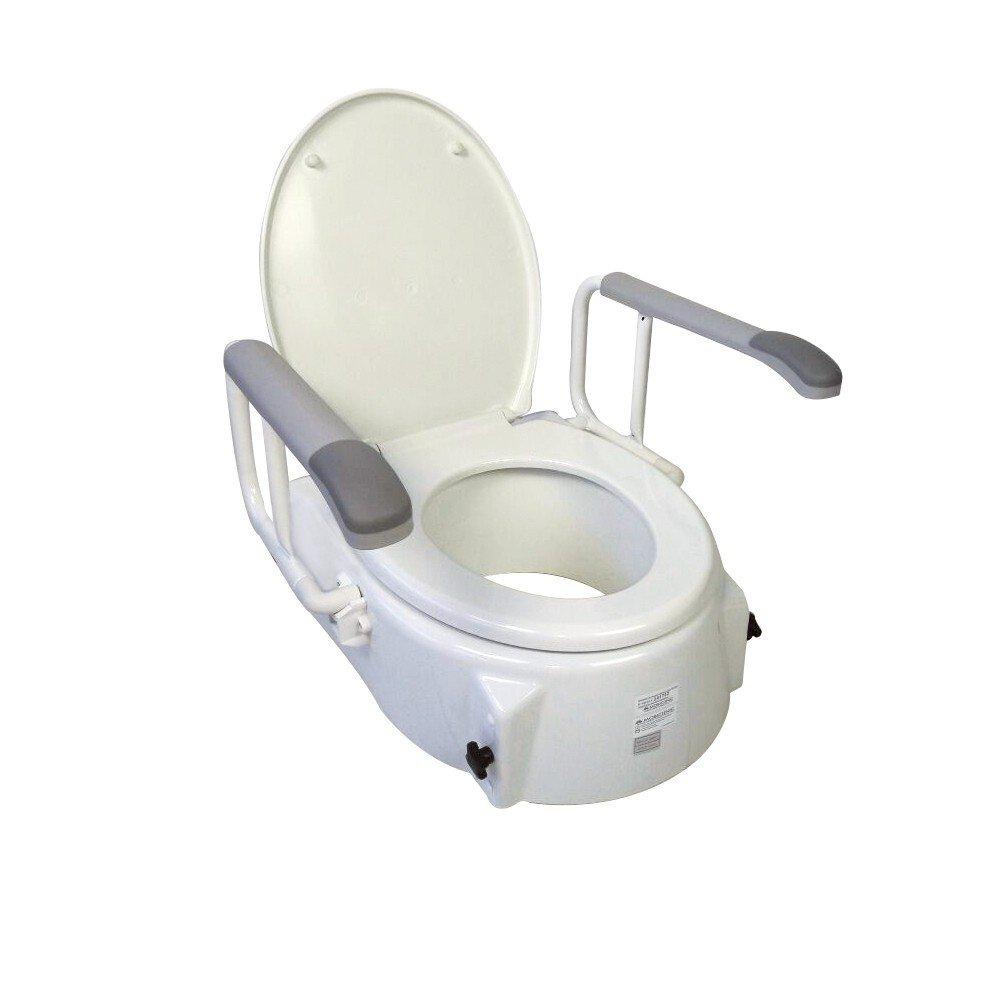 Rialzo per WC con coperchio | Elevatore inclinabile e regolabile in altezza di 5 - 9 - 12, 5 cm | Braccioli ribaltabili | Peso massimo sopportato: 150 Kg | Modello Muralla | Mobiclinic