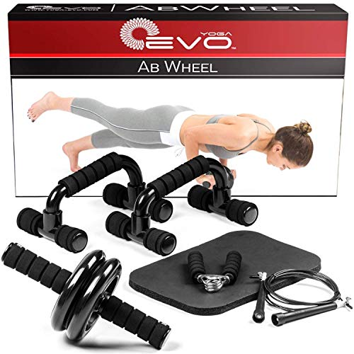 (Yoga EVO Ab Wheel Roller Kit - Ab Wheel, Push-Up Bar, Jump Rope and Knee Pad - Complete Abdominal Training Set)