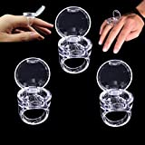 AiQueen 3 PCS Reuseble Pigment Ink Glue Ring Cup with Cover Crystal Tattoo Ring Glue Eyelash Extension False Eyelash Grafting Pallet Holder Ring