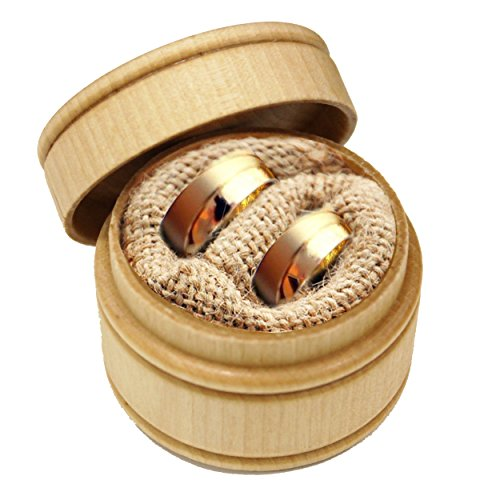 My Personal Memories Wood Ring Box Holder - Ring Bearer Pillow Alternative - Wooden Round Wedding Rings Holder (Mr and Mrs Arrow Style - Brown) by My Personal Memories (Image #1)
