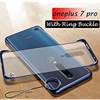 one Plus 7 Pro Cover Mobistyle Ultra Thin Frameless Matte Transparent with Ring Buckle Back Cover Case for oneplus 7 Pro (Ring Blue)