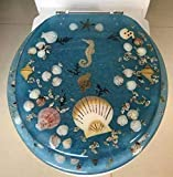 Heavy Duty Comfort Seahorse Seashells Round Toilet Seats with Cover Acrylic Seats.(Blue 17 Inch)