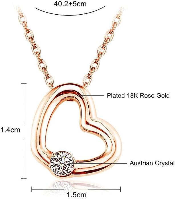 Deux Coeurs Cristal Zircone Cubique Argent Gold Filled Femmes Collier Pendentif Boîte