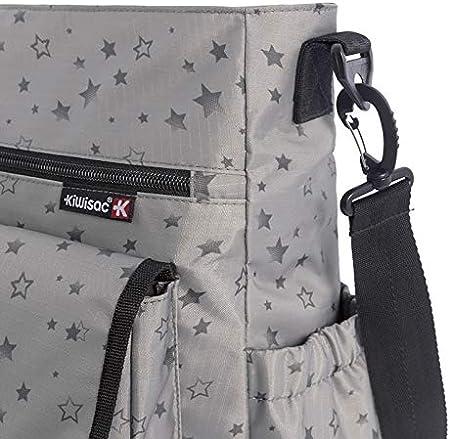 Kiwisac City Silver Stars Bolso para Carro de Bebé Universal con Diseño Original de Estrellas en color Gris Bolso Organizador, Bandolera Ajustable y Cintas de Sujeción 36x12x34 cm