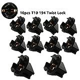 WLJH 10pcs T10 168 Twist Lock Wedge 194 W5W Bulbs Base Sockets Instrument Panel Cluster Plug Lamp Dash Light Bulb