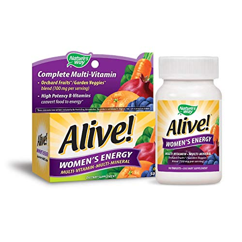 Nature's Way Alive!® Women's Energy Multivitamin Tablets, Fruit and Veggie Blend (100mg per serving), 50 Tablets