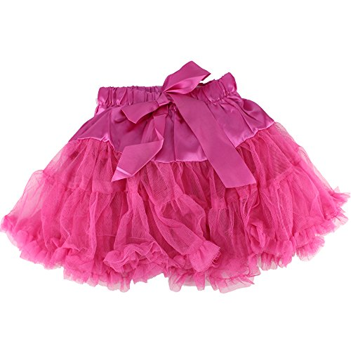 Baby Kids Girls Dancewear Chiffon Tutu Full Pettiskirt Princess Skirt Classic Triple 1-8y (6-8 years, rose red)