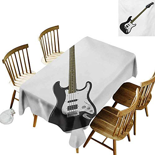 (Mannwarehouse Guitar Stain-Resistant Tablecloth Bass Four String Rhythm Music Rock and Roll Element Detailed Illustration Easy to Clean W54 x L72 Black White Caramel)