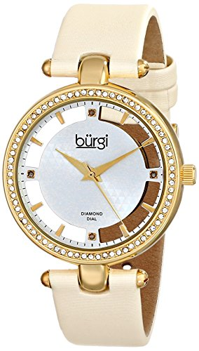 Burgi Women's BUR104WTG Gold-tone Diamond and Crystal Beige Satin Strap Watch