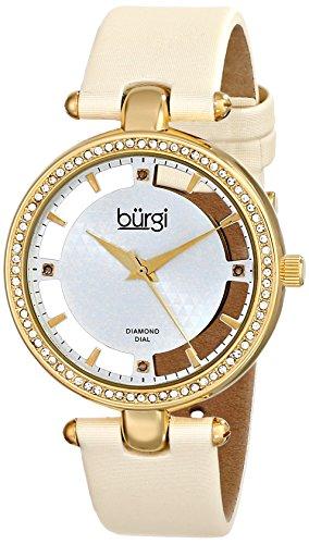Burgi Women's BUR104WTG Gold-tone Diamond and Crystal Beige Satin Strap Watch
