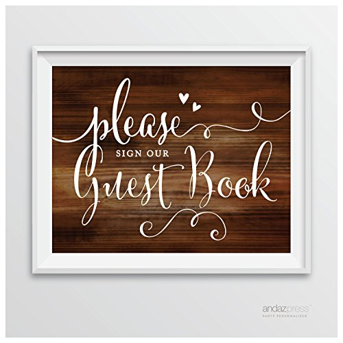 Andaz Press Wedding Party Signs, Rustic Wood Print, 8.5-inch x 11-inch, Please Sign our Guestbook, 1-Pack, Unframed