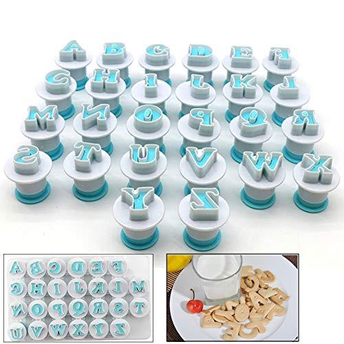 Neepanda Alphabet Letter Fondant Cake Biscuit Mold, Cookie Stamp Impress, Alphabet Letters Cake Tool, Embosser Cutter, Upper Case Letter Shape DIY Cookie Biscuit(Plastic, 26PCS/Set)