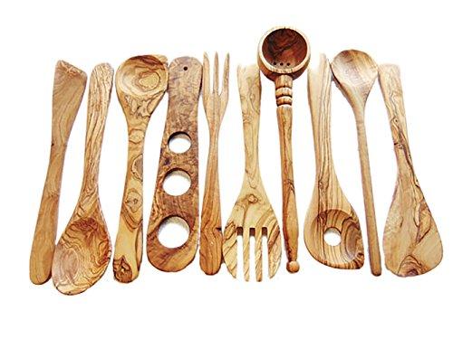 merr' Olive-Wood-Spoon Utensils Set of 10: 1 olives ladle, 2 Spatulas, 2 spoons, 2 forks, 2 sauce spoons, 1 spaghetti measure,