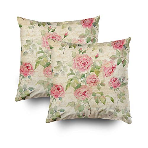 (Crannel Double-Sided Printing Pillowcase 18X18 Inch 2PCS Throwing Cushion Floral Pattern Pink Roses Vintage Background Watercolor Invisible Zipper Square Decorative Home)