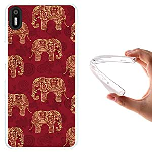 WoowCase - Funda Gel Flexible { bq Aquaris X5 } Indian Style Patron Elefantes Carcasa Case Silicona TPU Suave