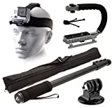 Adjustable Head Helmet Strap Mount - Selfie Stick - MoonGrip Action Stabilizing Video Handle - Mini Tripod - Dust Removal Cleaning Kit for GoPro Hero4 Hero3+ Hero3 Hero2 Hero 4 3+ 3 2 1 Camera Camcorder