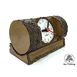 Murti Shop Decorative Desk Clock, Creative Fashion Silent Non Ticking Sweep Second Hand Bedside Desk Wooden Clock For Bedroom, Battery Operated