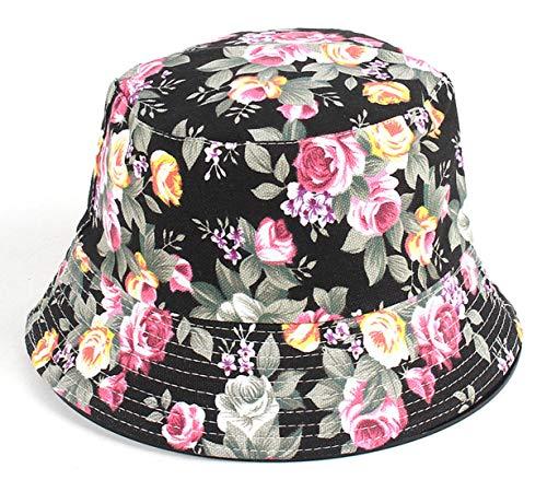 Floral Print Bucket Hat Hawaii Vintage Fisherman Hats Summer Reversible Packable Cap (1)