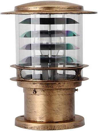 Lampara exterior Lámparas de pie Altura 30CM Lámpara de jardín de diseño impermeable cilíndrica,aluminio y pantalla de vidrio,Lámpara de camino E27 Exterior Iluminación de césped,bronce: Amazon.es: Iluminación