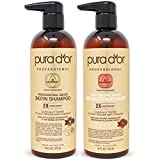 PURA D'OR Professional Grade Anti-Hair Thinning 2X Concentrated Actives Shampoo & Conditioner for Maximum Results, Natural Ingredients, Clinically Tested, Sulfate Free, Men & Women fate Free Natural & Organic Ingredients, Men & Women