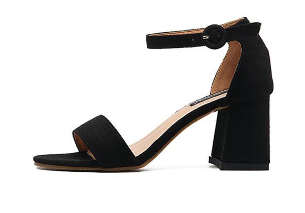 OL Scrub cinturino alla caviglia aperto zehe Chunky High Heel facile da  montare Elegante Donna Casual Matrimonio Sandali EU Taglia 34 - 38, Black,  ...