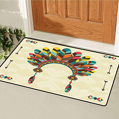 GloriaJohnson Ethnic Welcome Door mat Retro Headband in Tribal Design Colorful Feathers Arrows and Geometrical Motifs Door mat is odorless and Durable W15.7 x L23.6 Inch ()