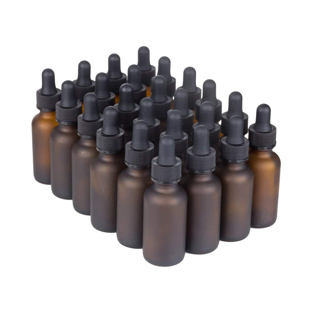7 Colors Available - The Bottle Depot Bulk 24 Pack 1 oz Amber Glass Bottles With Dropper; Wholesale Quantity for Essential Oils, Serums with Pretty Frosted Finish to Protect and Preserve Quality