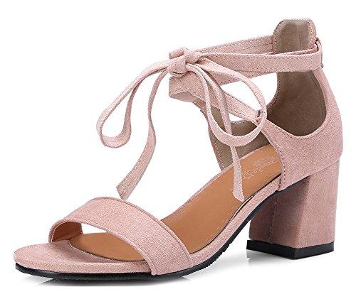 Aisun Women's Trendy Self-Tie Mid Chunky Heels Sandals Pink nbRVqc6