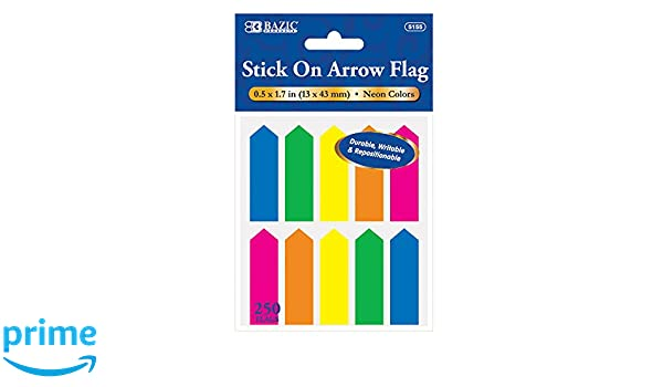 """8//Pack BAZIC 20 Ct 0.5/"""" X 1.7/"""" Printed Arrow Flags 5156-24 Case of 24"""