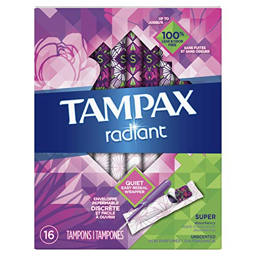 Tampax Radiant Tampons with Plastic Applicator, Super Absorbency, Unscented, 16 Count, Packaging May Vary