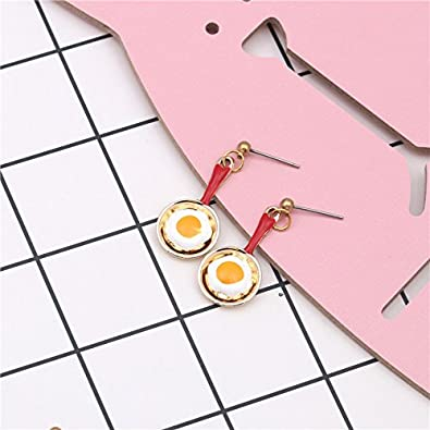 18K Gold Plated Vintage 3D Red Fried egg Pan Charm Drop Dangle Earrings
