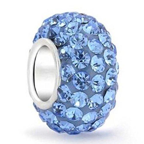 925 Sterling Silver December Birthstone Charm Bead Swarovski Crystal Elements fit All Charm Bracelet Gift Bag EC684-12 - December Birthstone Girl Charm
