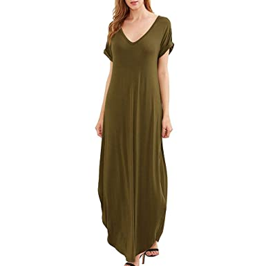 b460d1fda8c Women's V Neck Side Pockets Split Hem Beach Long Maxi Dress Army Green