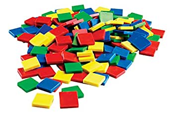 ETA hand2mind Plastic Square Color Tiles, Set of 400 with Storage Tub