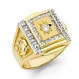 Ioka Jewelry - 14K Yellow Solid Gold 15MM Cubic Zirconia CZ Fancy Dolphin Men's Ring - size 10.5