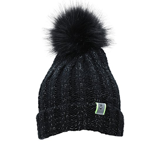 - Ofoot Men's & Women's Winter Warm Thick Soft Beanie Hat with Faux Fur Pom Pom, Stretch Cable Knit Reflective Filament Skull Cap for Couples and Parent-Child (Black)