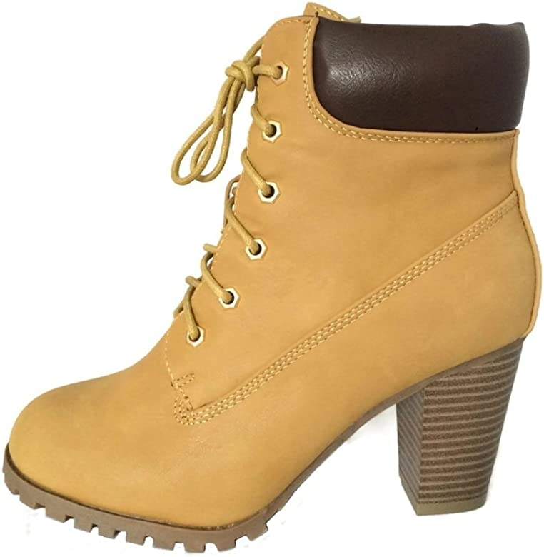 e883c393274 Amazon.com | KSC Womens Rugged Lace Up Stacked High Heel Ankle Boots ...