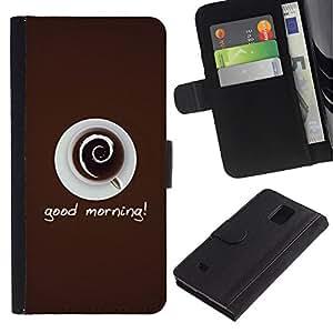 Paccase / Billetera de Cuero Caso del tirón Titular de la tarjeta Carcasa Funda para - Good Morning Coffee - Samsung Galaxy Note 4 SM-N910