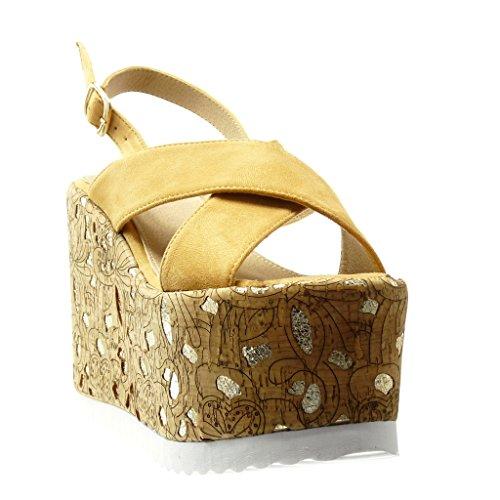 Angkorly - Zapatillas de Moda Sandalias Mules zapatillas de plataforma mujer corcho fantasía dorado Talón Plataforma 12.5 CM - Camel