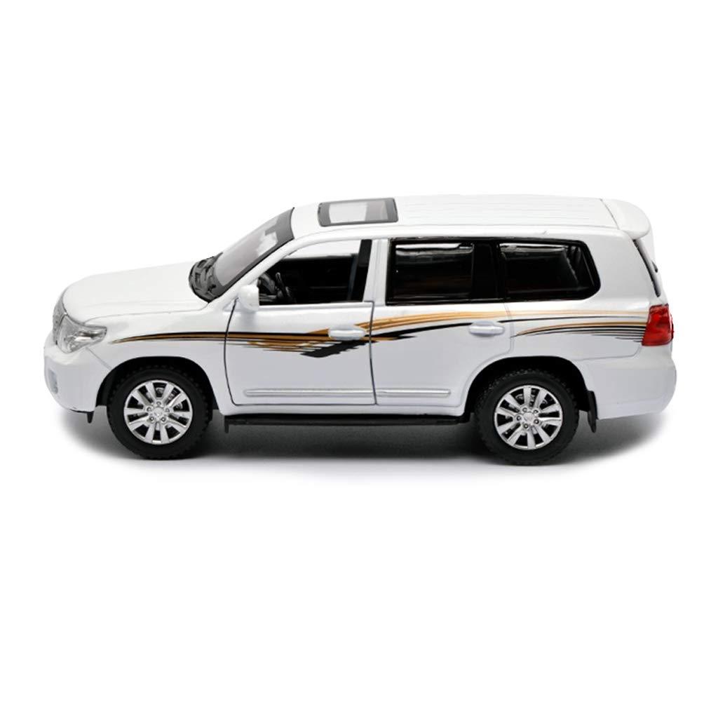Color : White Hyzb Auto Modello Auto 1:24 Toyota Land Cruiser SUV Simulazione Lega pressofusione Giocattolo Ornamenti Auto Sportiva Collezione Gioielli 20x8x7 CM