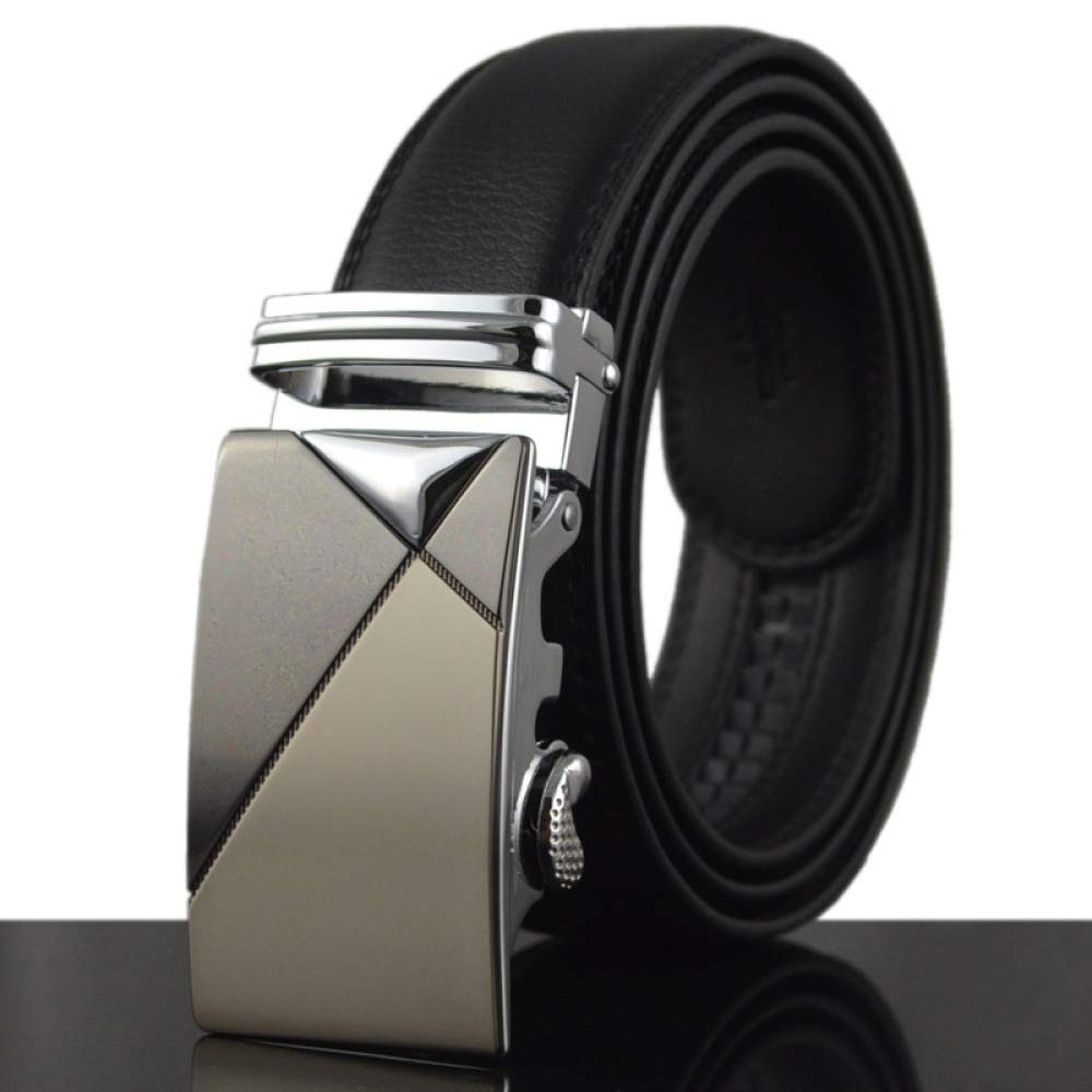 DENGDAI Mens Belt Leather Belt Automatic Buckle Belt Length 110-130cm