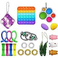 Qisen Fidget Toy Set, Sensory Toy, 23stuks Fidget Pack, Fidget Set met Simple Dimple Fidget Toy Marble Mesh Push Pop…