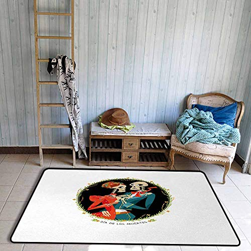 Floor Bath Rug Day of The Dead Skeleton Couple in Love Oval Frame with Green Leaves Mexican Tradition Personality W55 xL72 Multicolor