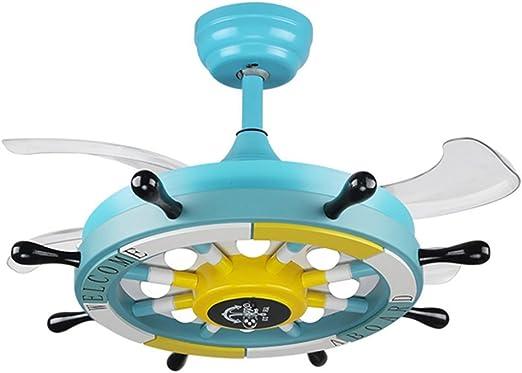 SZ&LAM Ventilador De Techo De Los Niños Ventilador De La Lámpara Araña Dormitorio De Dibujos Animados Llevó La Luz del Ventilador Habitación Infantil Invisible,Blue: Amazon.es: Hogar