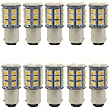 JAVR Pack of 10 - Warm White 3000K 1142 BA15D 1076 1176 LED Bulbs 5050 27-SMD Replacement Lamps for 12V Interior RV Camper Trailer Lighting Boat Yard Light Brake Tail Bulbs