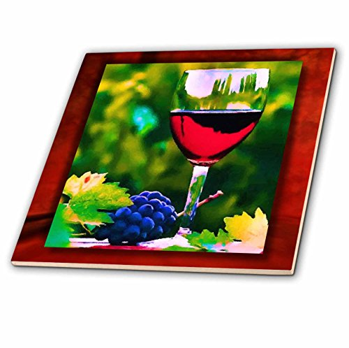 3dRose 3D Rose Red Wine in the Vineyard Ceramic Tile, ()