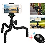 Cell Phone Flexible Tripod Holder with Bluetooth Remote, ZTON 11'' Adjustable Mobile Phone Mount, Universal Octopus Stand for iPhone, Samsung, Camera (M-Black)