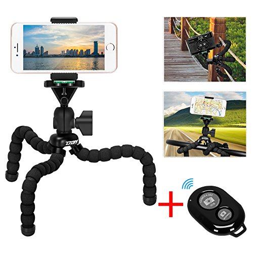 Cell Phone Flexible Tripod Holder with Bluetooth Remote, ZTON 11'' Adjustable Mobile Phone Mount, Universal Octopus Stand for iPhone, Samsung, Camera (M-Black) by ZTON